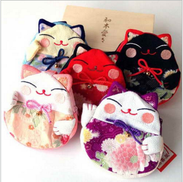 招き猫 小遣い袋 財布 ネコ 可愛い ピンク