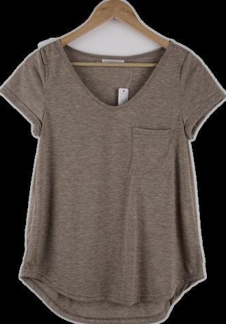 2012最新の快適さ純粋な色の女性のおしゃれなポケットtシャツ