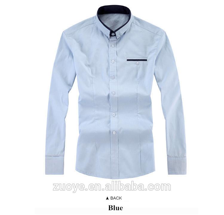 カラフルな材料2015長袖メンズシャツ