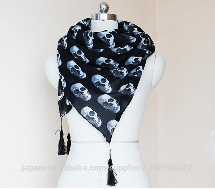 2014人気 女性用 ストール頭骨をプリント パリ紗素材エアコンのフリンジストールスカーフ レディース マフラー