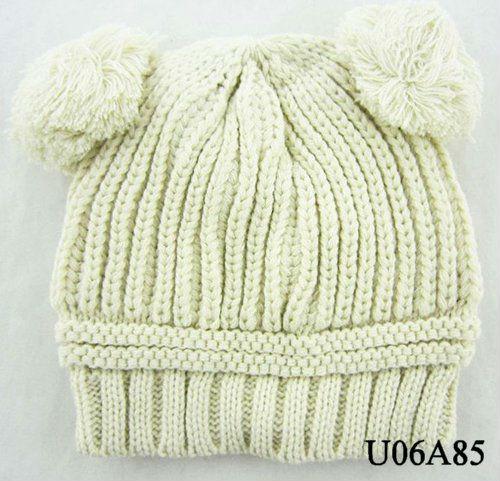赤ちゃん幼児の冬の帽子pomリブニットかぎ針編み
