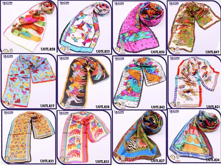 卸売中国義烏100%シルクスカーフとスカーフカラフルなハンカチ