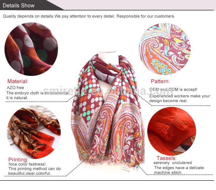 春や夏2015印刷ポリエステルスカーフ女性のための