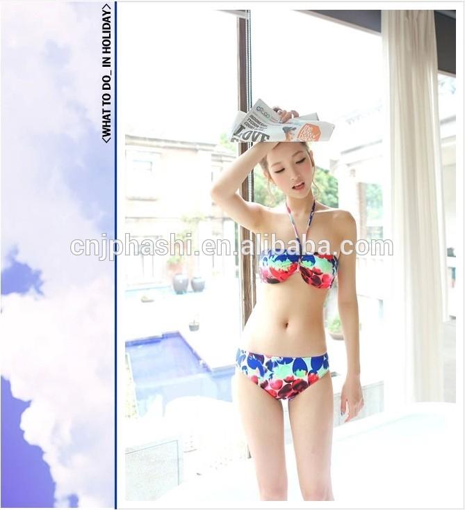 最新の女性の印刷の女の子ホット2014年スリーピーススリングのビキニの水着