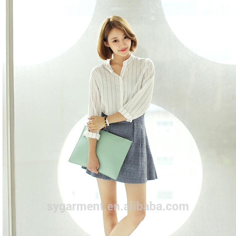 女性安価な2015白のストライプのシャツレディースセクシーな白シャツ