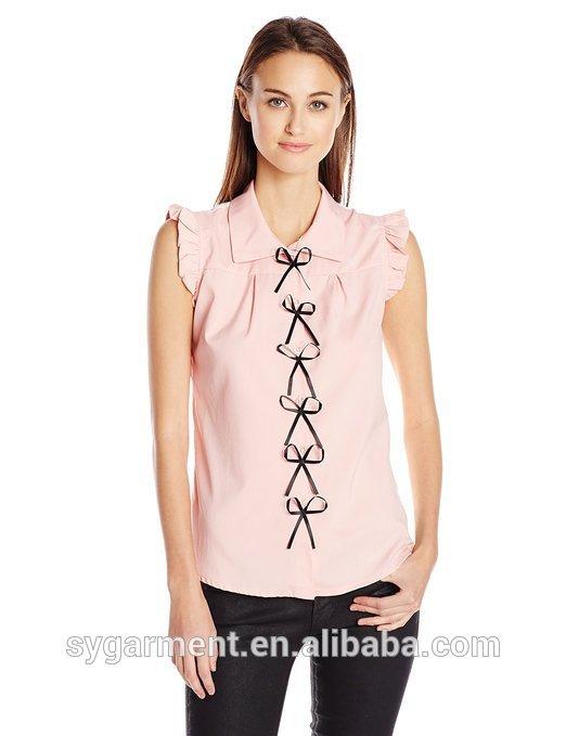 女性のボウタイの装飾装飾された薄手のレースのパッチワークシャツフリル