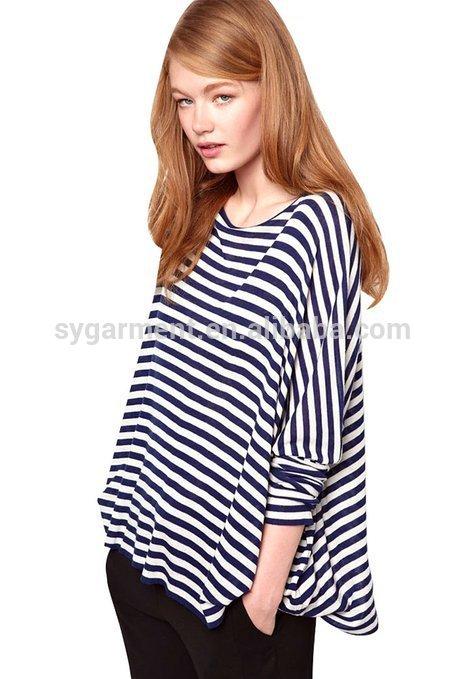 女性ネイビーストライプ2015ロングスリーブスウェットシャツ