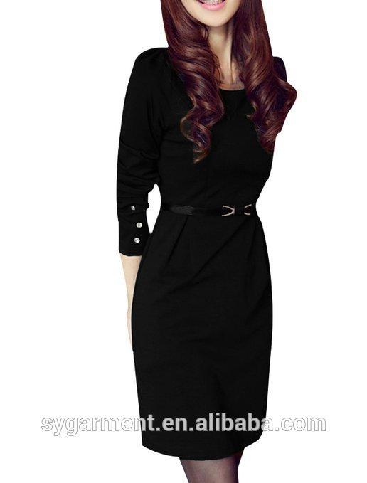 女性ラインストーンの装飾のエレガントオフィスフォーマルシフトドレス黒のドレス