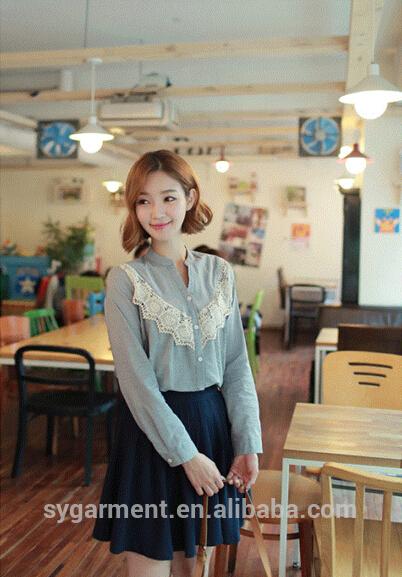 2015かなり女性の少女ファンシーレースブラウスとの長い袖のワイシャツ