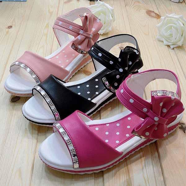 の子供の学校の安全靴新しいtsz8004美しい船首波ポイントプラットフォームサンダル卸売フラット女の子のサンダルの靴