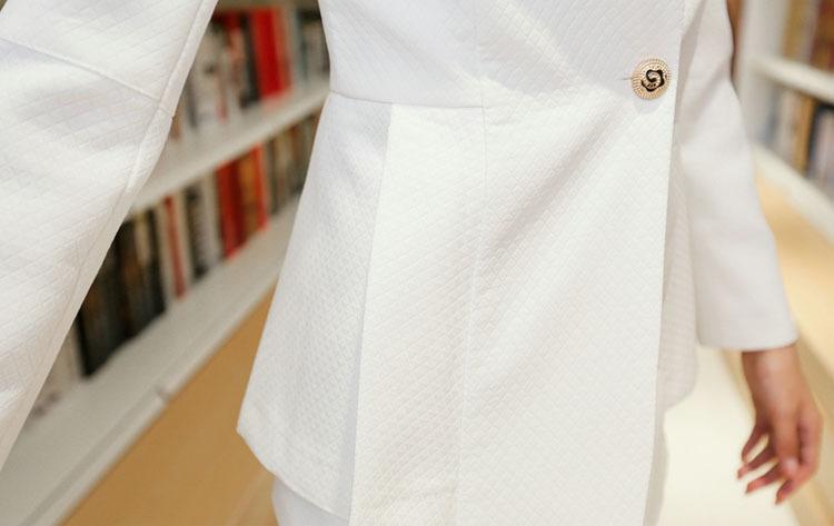 ホワイトロングnz5136ストリートファッション女性のブレザー