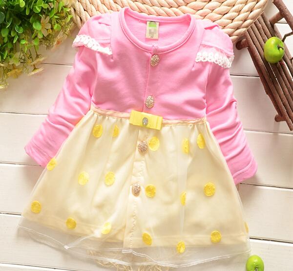 女の赤ちゃんの服tc1038長袖クル2015コットンベビードレス