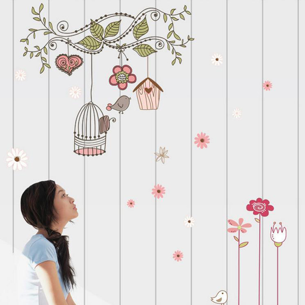 木と鳥かご 木漏れ日ステッカー 安い PVC 透明 壁紙シール ウォールステッカー ウォールペーパー シール