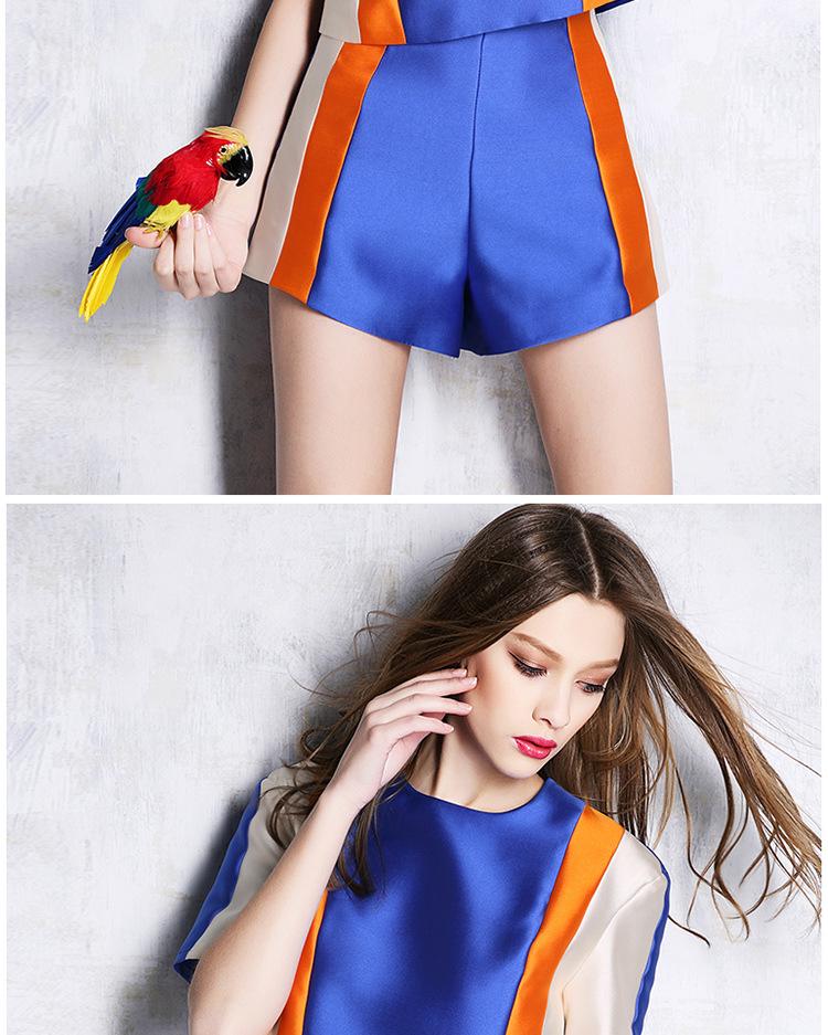 保証貿易2015ブラウスや非常に美しい縞ショーツレディーススーツ婦人服のスーツ