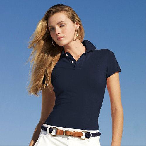 貿易2015保証の新しいデザインポロシャツ綿100%白の女性のポロシャツ