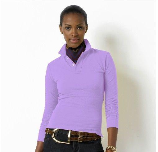 保証のoemサービス貿易2015カスタムの綿の長い袖の女性ポロシャツメーカー卸売