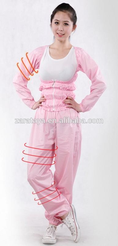 中国の人気2014年防水サウナの長い袖の服の女性のスエットスーツドレス最新のpvc材料緩い重量