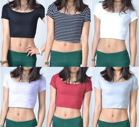 卸売2014年作物の上部セクシーな綿の女性のための袖の女性はカジュアルショートt- シャツ