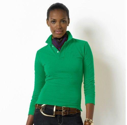 緑と白2015貿易assurancecustom100%プレーンな女性の卸売のための綿のポロシャツ