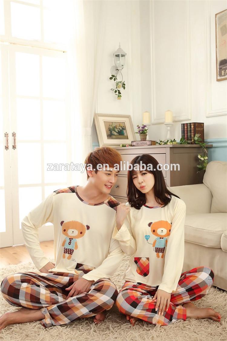 卸売綿のパジャマパジャマ大人カップルsleepsuit手先