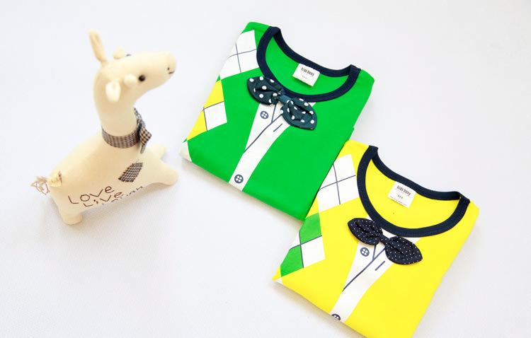 ホット! ファッション新しい春2014年/キッズ男の子t- シャツ/korean/ダイヤモンド/弓/偽襟/t- シャツ/卸売