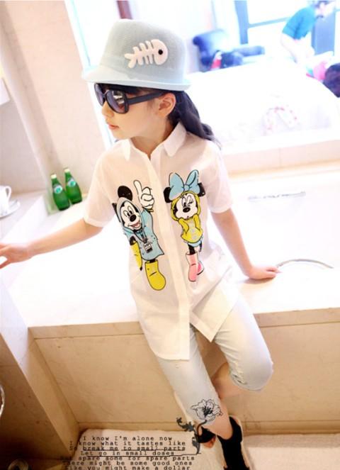 2014年ホット! ファッションキッズt- シャツ/europe貿易/パターン子供たちミッキー短い- 長袖t- シャツ/卸売