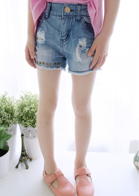 2014年ホット! 韓国子供服ファッション/子供のデニムショートパンツ/卸売