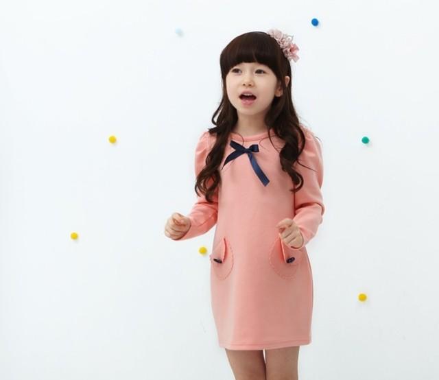 2014年ホット! ファッション韓国のガールズドレス/リボンの装飾/卸売