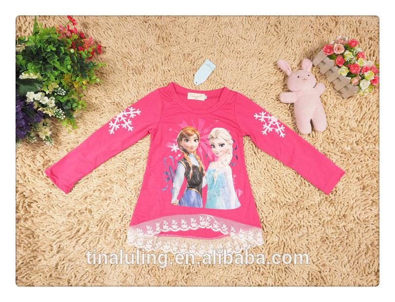 漫画の女の子のファッション子供の秋服冷凍トンシャツ