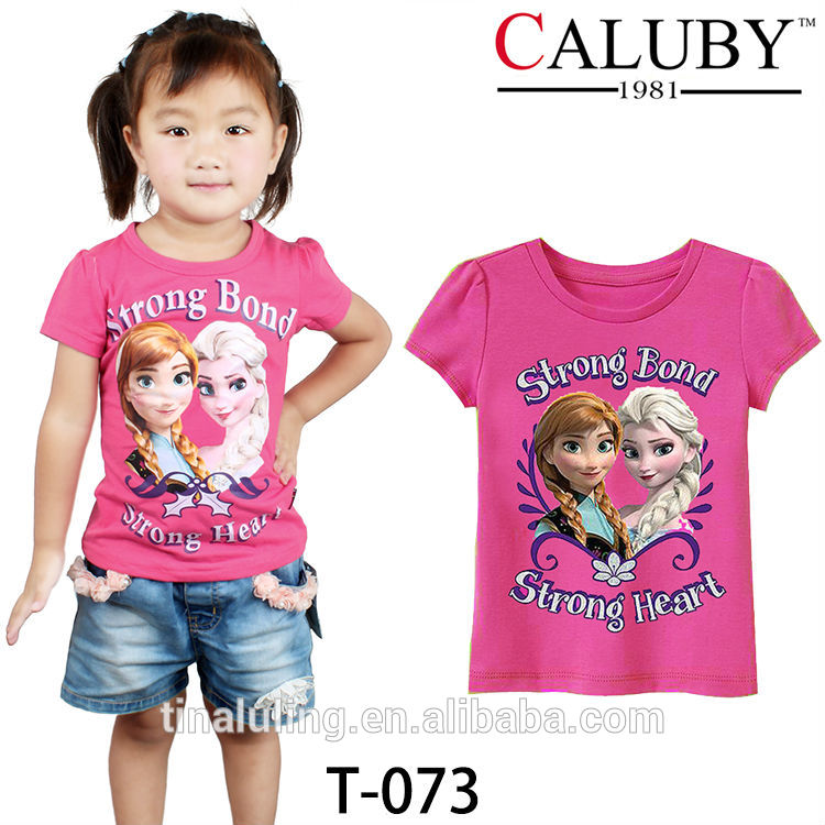 卸売ブランドの新しい衣類の子供たち女の子青い冷凍アンナとエルザt- シャツ