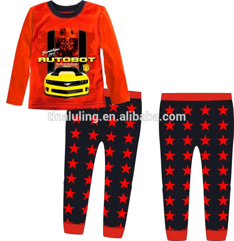 男の子のパジャマ子供変圧器綿長袖ネグリジェパジャマ子供変圧器マルハナバチ/パジャマ