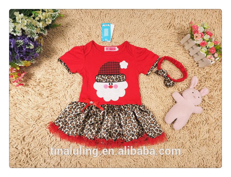 ファッションの女の子ドレスの幼児ロンパーと水玉chirstmasの木の赤ちゃんの服