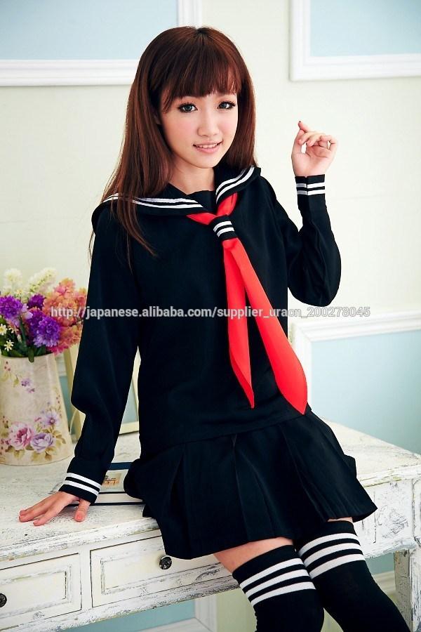 学生服 衣装 長袖 セーラー 制服 冬服デザイン・ブラック長袖セーラー服コスチューム US1609