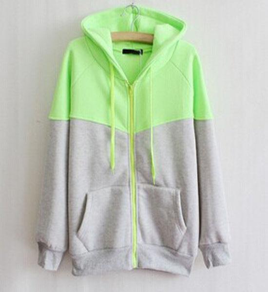 100%コットンフレンチテリープルオーバー緑/グレーのプリントパーカーカスタムアパレル広州ファッションのパターン