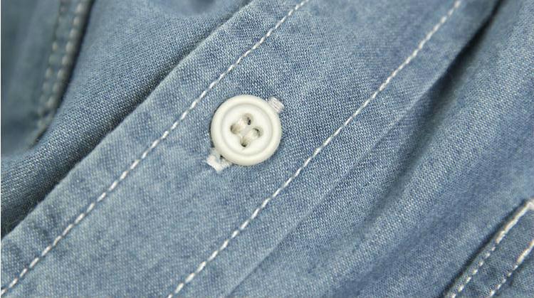 カジュアルフード付きチェストパッチジーンズ男性用シャツ
